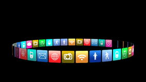 Group of social icon animated stock footage