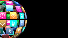 Group of social icon animated stock video