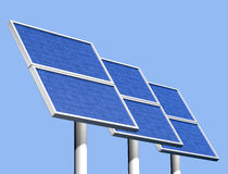 Group of solar panels on a clear sunny day Royalty Free Stock Images