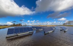 Group of Solar panels floating on water royalty free stock images