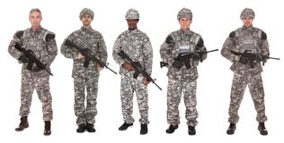 Group of soldier with rifle. Group Of Soldier Holding Rifle Over White Background stock images