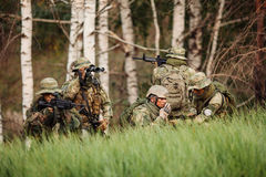 Group of soldiers engaged in the exploration area Stock Image