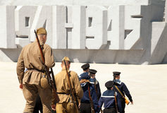 Group of soldiers and sailors wearing old retro USSR military uniform Royalty Free Stock Photo