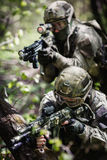 Group of soldiers special forces. During raid in forest royalty free stock photos