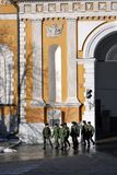 A group of soldiers walks in Moscow Kremlin. Royalty Free Stock Photos