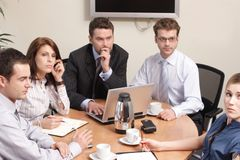 Group solving problems. Group of business people working on project royalty free stock photo
