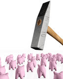 Piggy banks under the hit of the hammer. A group of some pink piggy banks seen from behind are under the hit of a ruined giant hammer on a white background Stock Photos