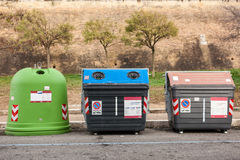 Group of sorted Recycling bins. Group of kerbside waste dumpsters royalty free stock photos