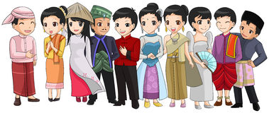 Group of Southeast Asia people with different race. And culture in cute cartoon illustration design representing ASEAN organization (vector