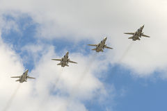 The group of Soviet bomber Sukhoi Su-24 Fencer Royalty Free Stock Photography