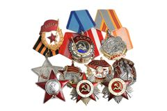 Group of Soviet orders and awards isolated Royalty Free Stock Photos