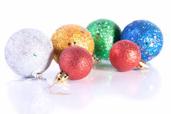 The group of sparkling Christmas toys Royalty Free Stock Photography