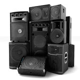 Group of speakers ,loud or abused concept Stock Image