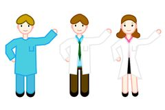 A group of specialist physicians who personify the staff. Suitable for registration of a health magazine or a website Royalty Free Stock Photos