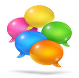 Group of speech bubbles. 3D group of colored speech bubbles  on white Stock Photo