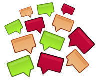 Group of speech design bubbles. Group of speech design business bubbles in three colors - green, brown and magenta Stock Photo