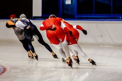 Group speed skaters Stock Image