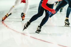 group speed skaters women Royalty Free Stock Photos