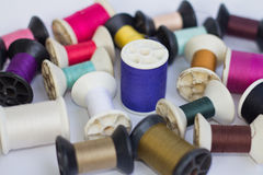 Group of spools of thread. Of various colors isolated on white background Royalty Free Stock Images