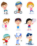 Group of sport boys and girls Stock Photos