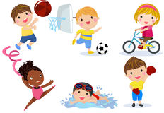 Group of sport children collection vector illustration