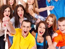 Group sport fan cheer for. Isolated Royalty Free Stock Photos