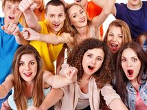 Group sport fan cheer for. Stock Photo