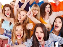 Group sport fan cheer for. Isolated stock image