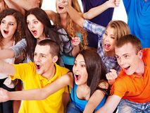 Group sport fan cheer for. Happy group sport fan cheer for. Isolated royalty free stock photos
