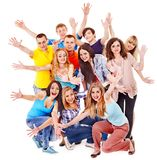 Group sport fan cheer for. Isolated stock photography