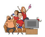 Group of sport fans with football attributes cheering for the team in front of TV on a couch. Flat vector illustration stock illustration