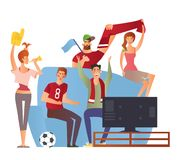 Group of sport fans with football attributes cheering for the team royalty free illustration