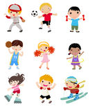 Group of sport kids set Stock Images