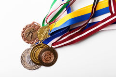 Group of sport medals on white background Royalty Free Stock Images