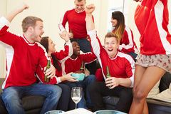 Group Of Sports Fans Watching Game On TV At Home. Holding Bottle Of Beer Cheering Stock Images