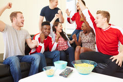 Group Of Sports Fans Watching Game On TV At Home. Looking At Each Other Cheering Royalty Free Stock Photos