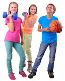Group of sporty friends with dumbbeдls and ball Stock Photo