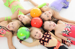 Group of sporty little girls Stock Photo