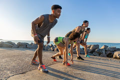 Group of sporty people getting ready to run a marathon Stock Photo