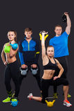 Group Of Sporty People With Kettlebells Isolated Royalty Free Stock Photography