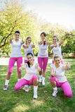 Group of sporty women with thumbs up Royalty Free Stock Image