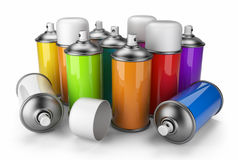 Group of spray can. 3D icon. On white background Royalty Free Stock Photos