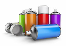 Group of spray can. 3D icon isolated. On white background Stock Photo