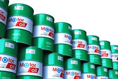 Group of stacked barrels with motor oil lubricant isolated on white. Creative abstract automotive industry and auto repair service and maintenance concept: 3D vector illustration
