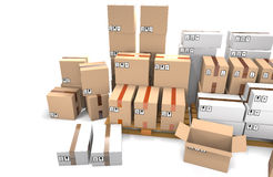 Group of stacked cardboard boxes on wooden shipping pallets are Stock Photo