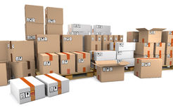 Group of stacked cardboard boxes on wooden shipping pallets are Royalty Free Stock Photos