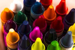 Group of stacked pile of crayons top view.  Stock Image