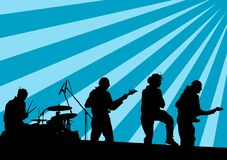 Group on stage in blue. Drawing musical group in concert on stage Royalty Free Stock Images