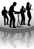 Group on stage and reflection. Drawing musical group in concert on stage Royalty Free Stock Images