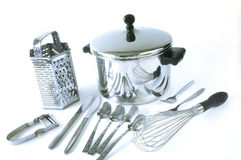 Group of stainless steel kitchen items Stock Photos